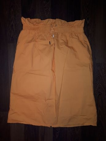 Pomarańczowa spódnica paper bag ze ściągaczem RESERVED 42/XL