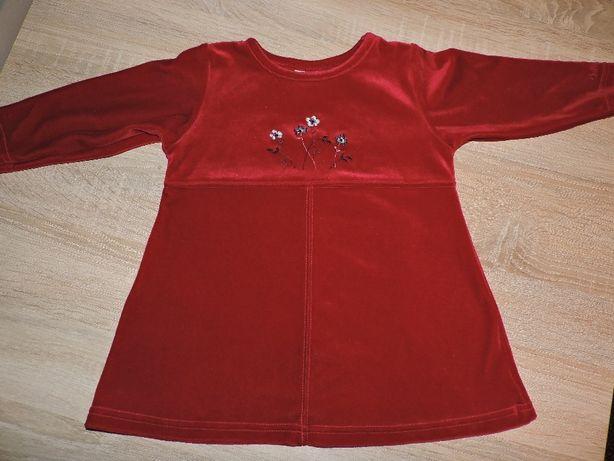 Welurowa sukienka dla dziewczynki 24 m-ce
