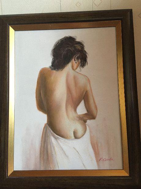 Oprawiony obraz olejny- Golianek