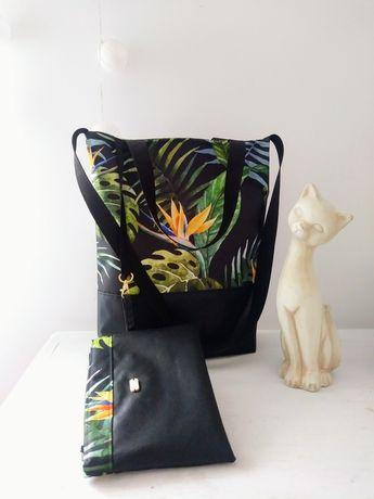 Nowy zestaw torebka plus kosmetyczka dżungla liście A4