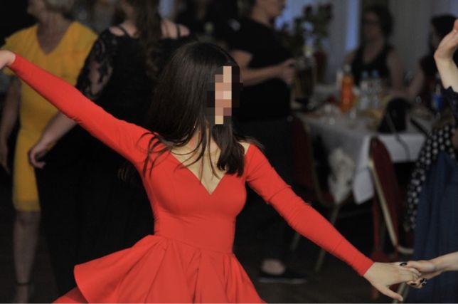 Lou valentine xs czerwona sukienka wesele rozkloszowana