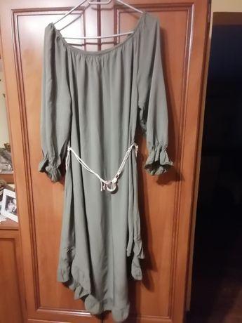 Śliczna oliwkowa sukienka 48