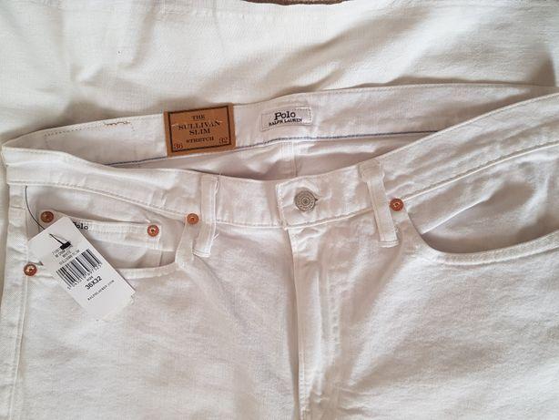 Nowe męskie spodnie jeansowe Polo Ralph Lauren białe rozmiar L
