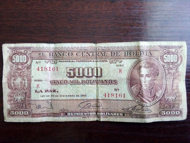 Banknot 5000 boliwarów Boliwia 1945