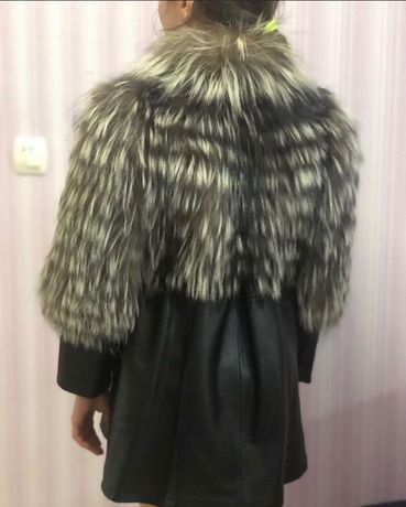 Детское пальто кожа+чернобурка