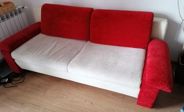Kanapa kremowo - czewona, 210x95, na sprężynach, tkanina spieralna