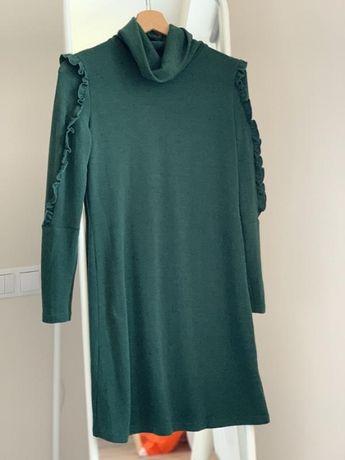 Вязаное зеленое платье S h&m zara bershka