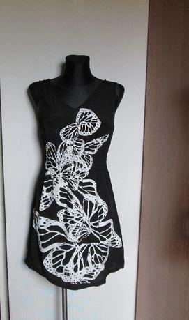 Czarna sukienka białe motyle r. 36/38