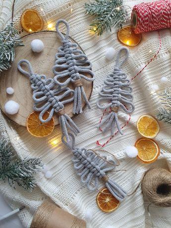 Ozdoby choinkowe szare choinki dekoracja makrama