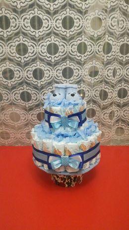 Торт с памперсов . Торт на выписку новорождённого. Крестины.
