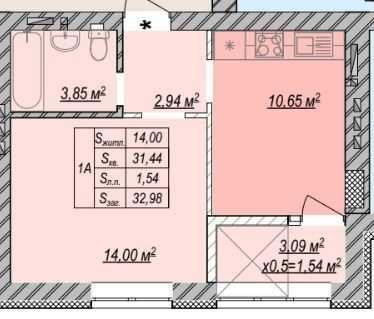 1-комнатная квартира на набережной Ирпеня по доступной стоимости!