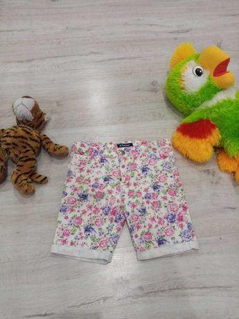 Яркие джинсовые шорты на девочку 5-9 лет