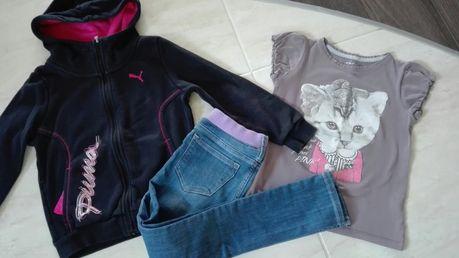 Zestaw 116/122 bluza Puma jegginsy H&M tshirt