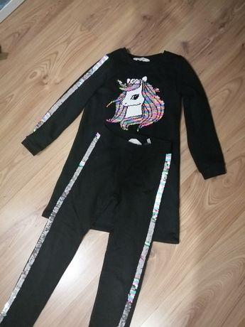 Komplet sukienka getry cekiny HM roz. 128