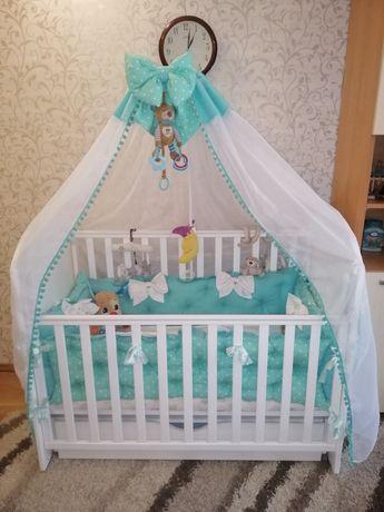 Кроватка Верес с мишкой со стразами в подарок кокосовый матрас