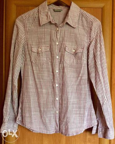 Świetna koszula w fioletowo-białe paseczki, rozmiar S