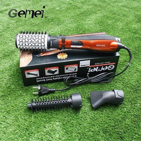 Фен-щетка, стайлер c насадками Gemei GM-4828 с вращающейся насадкой