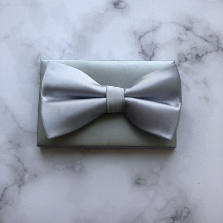 Атласная бабочка ручной работы мужская для свадьбы серебро серая