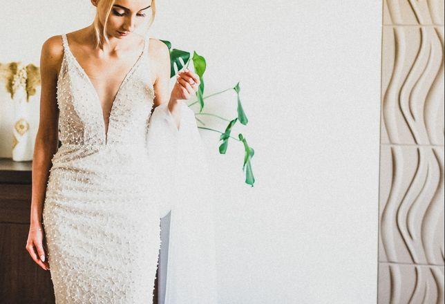 Suknia ślubna obcisła syrenka ecru 34