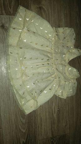 Платье на крестины, праздничное крестильное 1- 3 мес