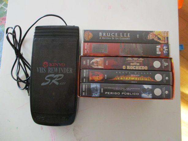 Pacote 5 filmes e bobinador VHS.