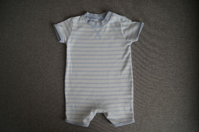 Rampers 56 0-1 msc Next Baby biały w jasnoniebieskie paski bawełniany