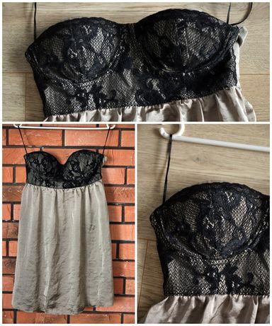 Sukienka czarna koronka usztywniane miseczki S