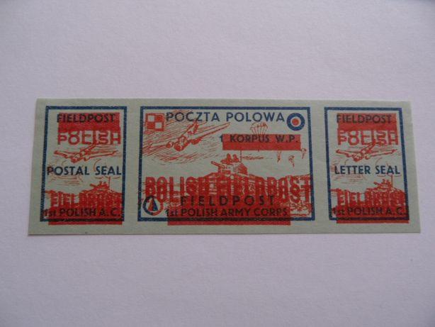 poczta polowa nadruk podwójny czysty znaczki pocztowe