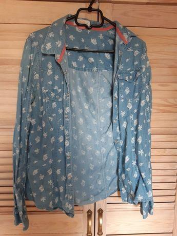 koszula we wzorki/kwiatki jeansowa vintage old school