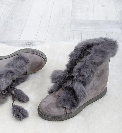 Sneakersy z futerkiem botki szare koturny naturalne futro futerko 41