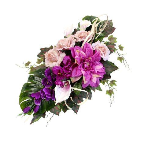 Pojedyncza WIĄZANKA STROIK podłużna fioletowo różowa DUŻO KWIATÓW