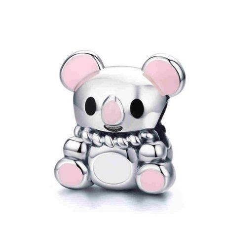 Charms PANDORA srebro 925 miś koala emalia różowy