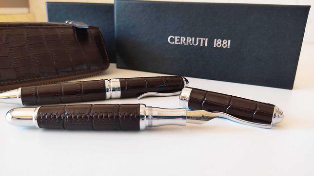 Conjunto Cerruti 1881 Caneta Aparo + Esferográfica em Couro