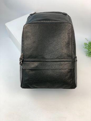 Кожаный черный рюкзак ранец портфель сумка натуральная кожа c700