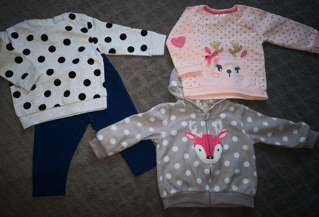 Bluzy 4szt, dresik, bluzeczka renifer i spodenki dla dziewczynki 68/74