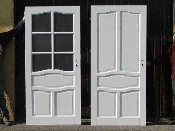 Drzwi wewnętrzne drewniane szpros - pełne BIAŁE OD RĘKI