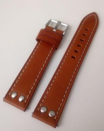 Brązowy pasek skórzany do zegarka 20mm