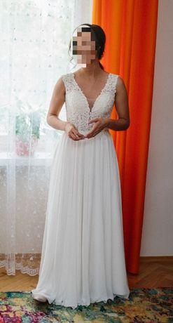 Suknia Ślubna, śmietankowa rozm. 38 cena do negocjacji