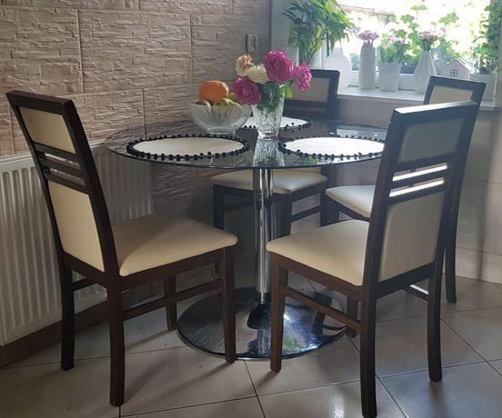 Krzesła 4 kuchenne do jadalni drewniane tapicerowane skórzane