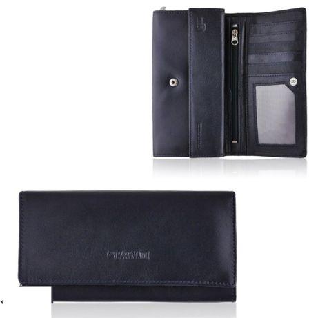 Damski portfel skórka naturalna ciemny granatowy RFID promocja PO08