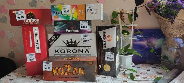Гильзы для сигарет, табака Korona, Gama, Kozak, Smokster, Frutta.