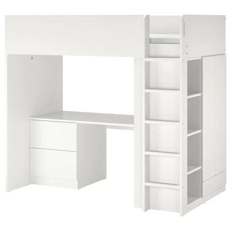 Łóżko piętrowe na antresoli z biurkiem IKEA Stuva białe