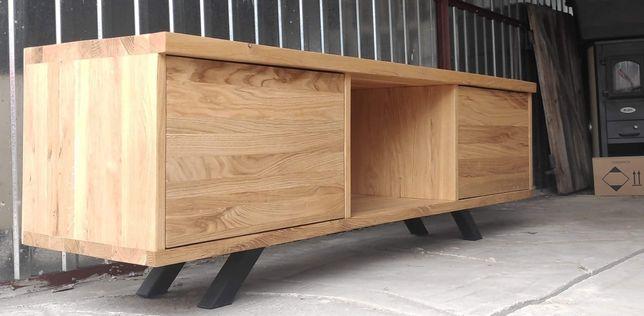 RTV loft . Drewno dębowe.Pojemne szuflady z cichym domykiem.