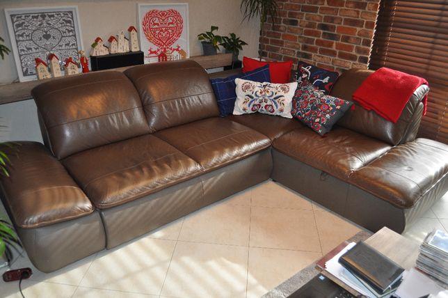Kanapa narożna skórzana rozkładana Sofa rogowa brązowa + fotel gratis