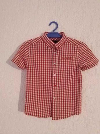 Koszula chłopięca- krótki rękaw,czerwono- biała kratka,rozmiar 116/122