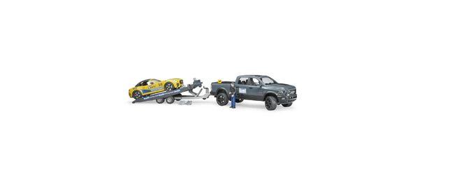 Dodge Ram 02504 przyczepa laweta wyścigówka figurka kierowcy zabawka