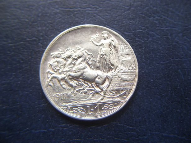 Stare monety 1 lir 1917 Włochy srebro
