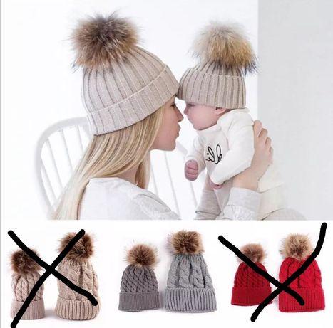 Комплект шапок для мамы и малыша
