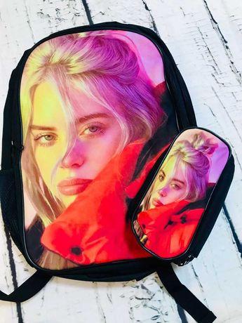 Модный комплект для школы BILLIE EILISH ( 2в1 ): USB-рюкзак и пенал .