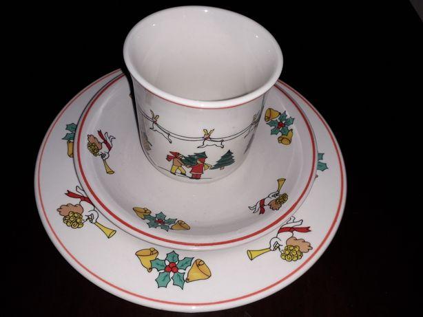 """Porcelanowy Zestaw śniadaniowy świąteczny bożonarodzeniowy"""" Luciano"""